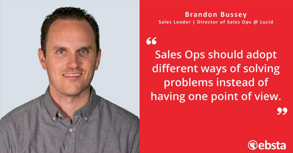"""Sales Ops should adopt different ways of solving problems instead of having one point of view."" - Brandon Bussey"