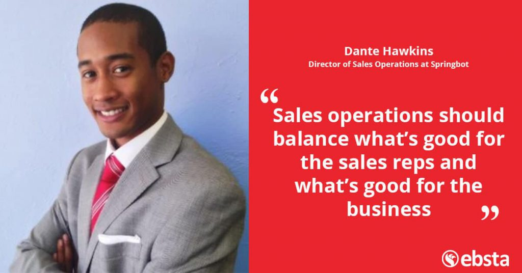 """The goal of sales ops should help increase organisational performance by supporting sales reps."" -Dante Hawkins"