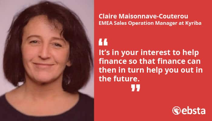 """""""It's in your interest to help finance so that finance can then in return help you out in the future.""""  - Claire Maisonnave-Couterou"""